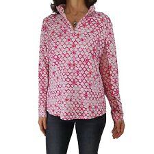 ICIKULS XL 1/4 Zip Top Long Sheer Sleeve Golf Polo Shirt Pink White Print UPF 50