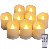 9pc Flameless LED Tea Light 100 Hour Flickering Candles Battery Operated Wedding