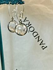 PANDORA 925 STERLING SILVER CRYSTAL BALL DROP EARRINGS GENUINE & GORGEOUS RARE
