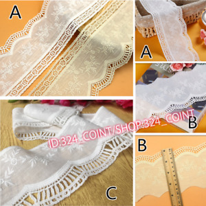 H336 1yd Embroidery Floral Cotton Lace Edging Trim Ribbon Wedding Fabric Sewing