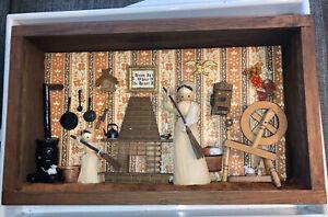 Vintage Miniature Dollhouse Living Quarters  Diorama Sewing Room