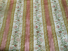Vintage French Pink Gold Satin Floral Stripe Lisere Brocade Jacquard Fabric ~