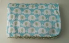 "Carters Blue Green White Elephants Sherpa Baby Blanket 28"" x 38"""