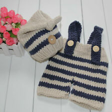 Infant Newborn Baby Boys Girls Clothes Crochet Knit Had + Pants Overalls Outfits