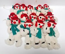 Lot of 14 Vintage Yarn Felt Christmas Snowmen Snowman Ornaments Japan