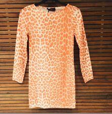 Orange Leopard Print Long Sleeve Bodycon Size 10
