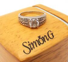 Auth Simon G Platinum Bridal Wedding Engagement Ring CZ .75ct Sz 6.75 Signed