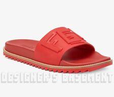 FENDI men 11UK 12US red rubber CARVED LOGO slides FLIP-FLOPS shoes NIB Auth $390