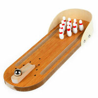 Wooden Miniature Bowling Boardgame Desktop Finger Bowling Ball 10 Pin Game NEW