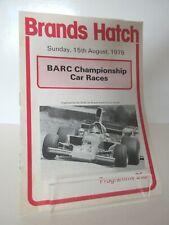 BRANDS HATCH BARC CHAMPIONSHIP MOTOR CAR RACES PROGRAMME 15.08.1976
