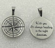 "Compass Stainless Steel Necklace ""With you I'm Heading in the Right Direction"""