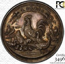 FINEST ONLY AT NGC & PCGS MS63 1894 HAMBURG GERMANY FARM MEDAL FIRST PLACE TONED