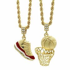 """Gold Plated Hip Hop Retro 11 """"Cherry"""" & Basketball Pendant 4mm 24"""" Rope Chains"""