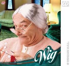 GRIGIO Nonna Parrucca CON CHIGNON Nan Nonna Grandma Donna Vecchia Costume