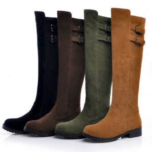 Women Riding Boots Suede Buckle Strap Knee High Fashion Retro Pull On Shoes  DD