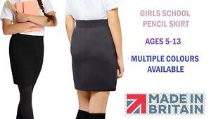 Girls Plain School Skirt Knee Length Pencil Skirt Uniform Kids Skirt Ages 5-13