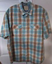 Tommy Bahama Jeans 100% Cotton Mens Short Sleeve Button Front Plaid Shirt XL EUC