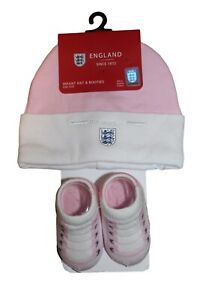 England Baby Girl Set Cap & Boat Hat And Socks White Pink 0 - 6 Months