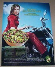 2002 print ad - California Avocados Mandarin Salad recipe SEXY GIRL motorcycle