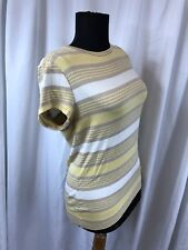 New The Limited Perfect Tee Stripe Yellow Rayon Spandex Shirt Top sz L $34.95