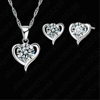925 Silver Heart Love CZ Crystals Necklace And Earring Jewellery Set UK