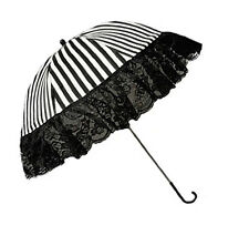 Black & White Striped Gothic Steampunk Burlesque Parasol, Beetlejuice Cabaret