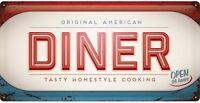 Original American Diner Grande Relieve Letrero de Metal 500mm x 250mm (Na )