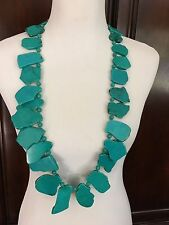 """Massive Turquoise Necklace Never Worn 36"""" 442 grams Can Double for Choker Style"""