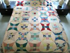 Vintage Feed Sack Hand Pieced & Quilted CURVED NINE PATCH Quilt; Nice Backing!