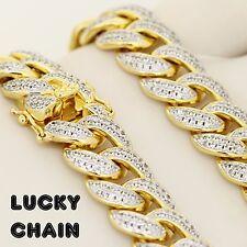 "18K GOLD FINISH ICED OUT LAB DIAMOND CUBAN LINK BRACELET 8.2""x14mm 67g PC69"