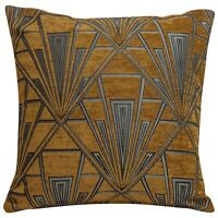 Art Deco Cushion. Luxury Soft Velvet Chenille. Gold and Silver Geometric Design.