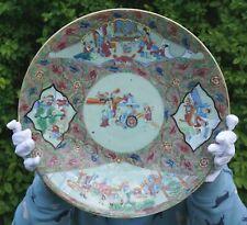 FINE! HUGE Chinese Canton Famille Rose Porcelain EMBOSSED Celadon Charger c1840