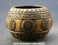 "3.7""Collect China Fengshui Bronze Flower Pot Jar Crock Writing-brush Washer 福旺发财"