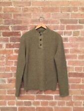 RRL Men's Henley Sweater Wool Linen Blend Khaki/Brown Sz Small
