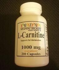 L-Carnitine Carnitine 1000mg 200 Capsules Fat Burn HIGH QUALITY FAST SHIPPING