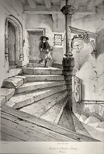gravure lithographie XIX° de Dauzats.Escalier de la Psalette à Nantes.Bretagne