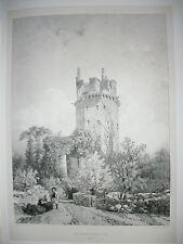 gravure lithographie originale XIX° de Cicéri. Porte du Château d'Elven.Bretagne