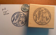 P16    French antique coin rubber stamp WM