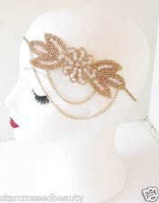 White Gold Rose Chain Headpiece Vintage 1920s Headband Flapper Flower Beaded L57