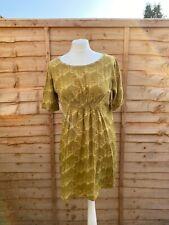 Orla Kiely Green Dress Size S 8-10 Knee Length Tunic Dress Casual Swing Shift
