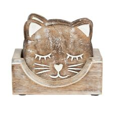 Set 6 Carved Wooden Cat Shape Drinks Coasters Coffee Table by Sass & Belle