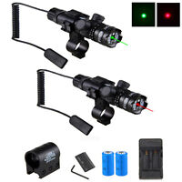 GREEN RED Laser Sight Hunting Rifle Scope Sights Gun Mount+Pressure Switch+Mount