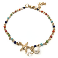Beaded Starfish Fashion Anklet For Women Beach Gold Ankle Bracelet Jewelry