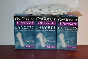 3 OneTouch Ultra Soft Sterile Lancets Ultra Thin Design 100 Count (Pack of 24ec