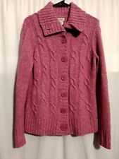 LL Bean-Heather Pink Long Sleeve Cable Knit Button Sweater Cardigan-SMALL