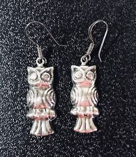 "Owl Sterling Silver Earrings Hallmarked NF 925  5 Grams Approx 1"" long"