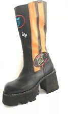 Z/183* DESTROY Leather Black Chunky Boots UK 6.5