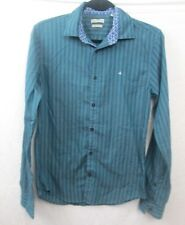 Calvin Klein Mens Size Small Blue Vertical Stripe Button Front Shirt Casual Slim