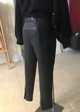 HAIDER ACKERMANN black leather cropped pants with vented hem Italian size 40
