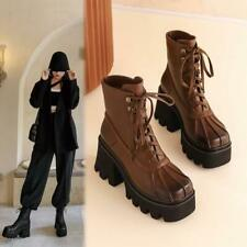 Women Ladies Fashion Block High Heel Lace Up Casual PU Leather Ankle Boots
